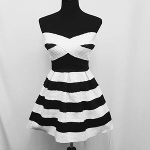 Charlotte Russe Black and White Strapless